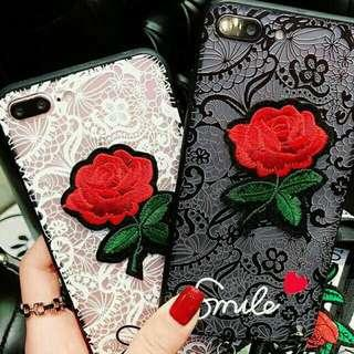 FREEPOS😎LACE EMBROIDERY ROSE SOFT CASE