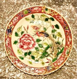 Antique Vintage Peranakan Straits Chinese Porcelain Plate & Bowl with Phoenix & Peonies