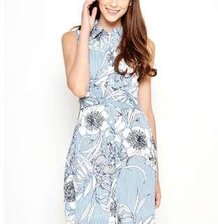 Love and Bravery Grace Tie Waist blue dress