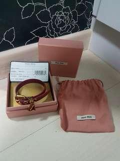 100% Auth Miu Miu Dark Pink Leather Bracelet