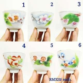 Old Porcelain Chinese Tea Cup 民国刷花花卉杯
