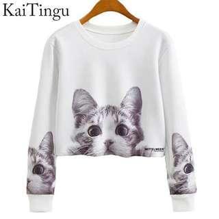 Ladies Cat Croptop Sweatshirt