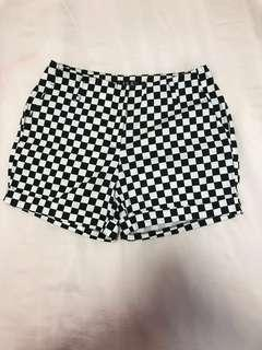 checkered black white shorts