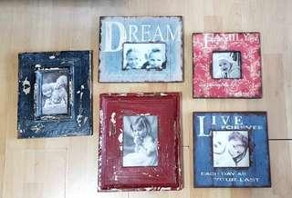 Set of 5 Rustic Wooden Photo Frames