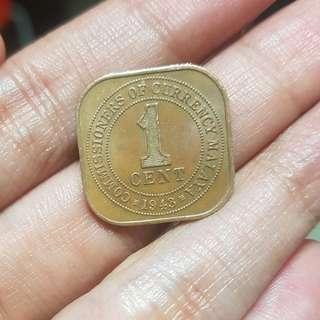 1943/1945 Malaya square coin