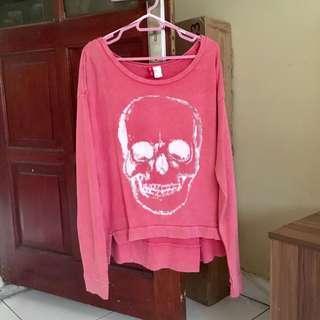 H&m Pink Skull Sweatshirt