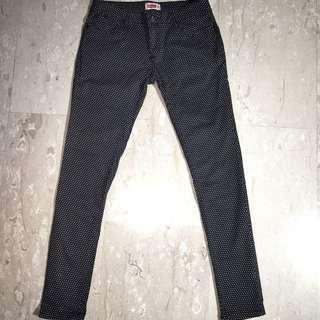 Black White Polka Dot Pants, Size 28