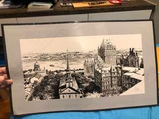 Drawing of Old Quebec City (Canada)