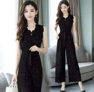 1df962ae9da Elegant sleeveless lace woman s jumper pants suit - black