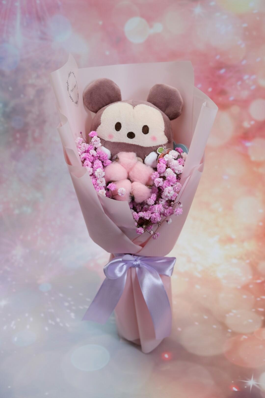 迪士尼米奇😍粉滿天星木棉花鮮花束