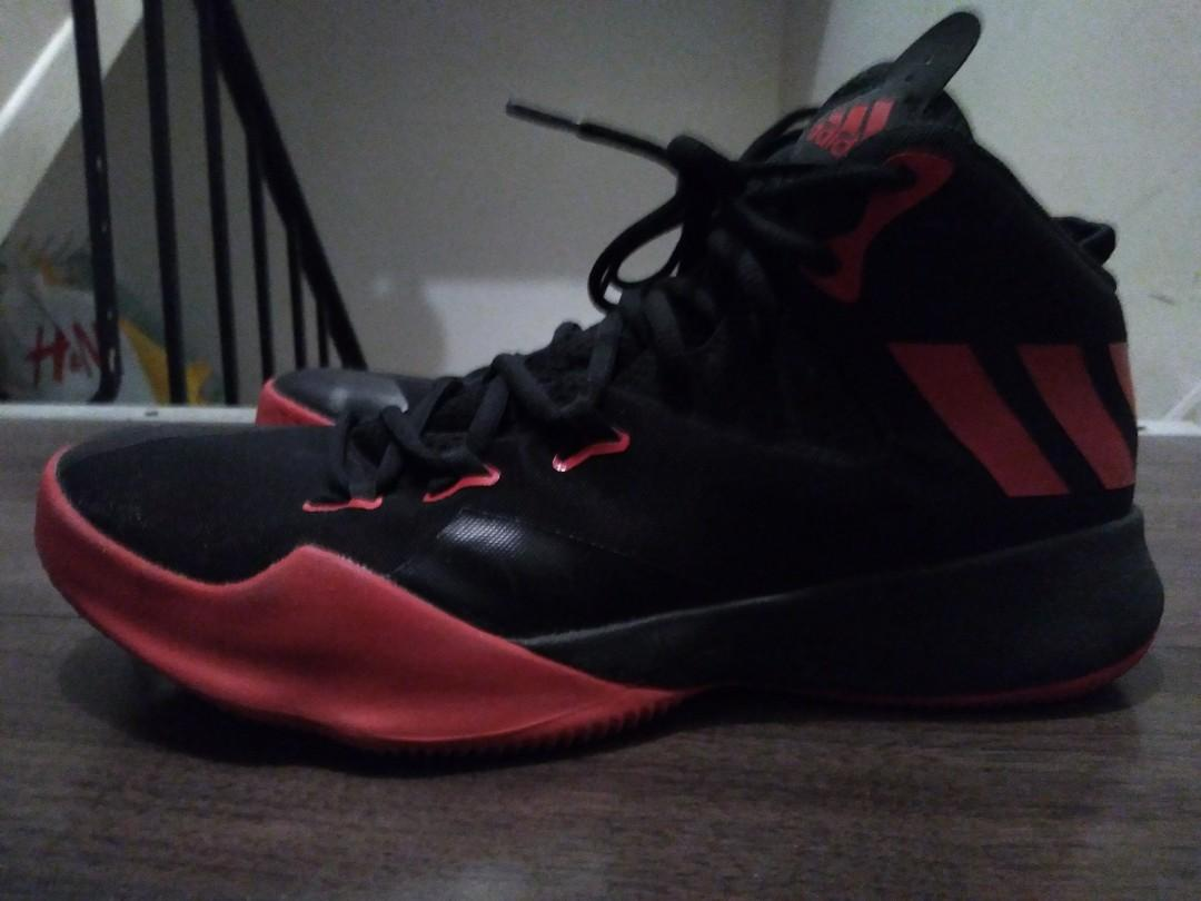 adidas dual threat red+black basketball shoes