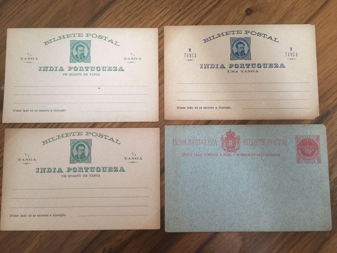 Antique India Portugal postcards (4 pc) - Genuine