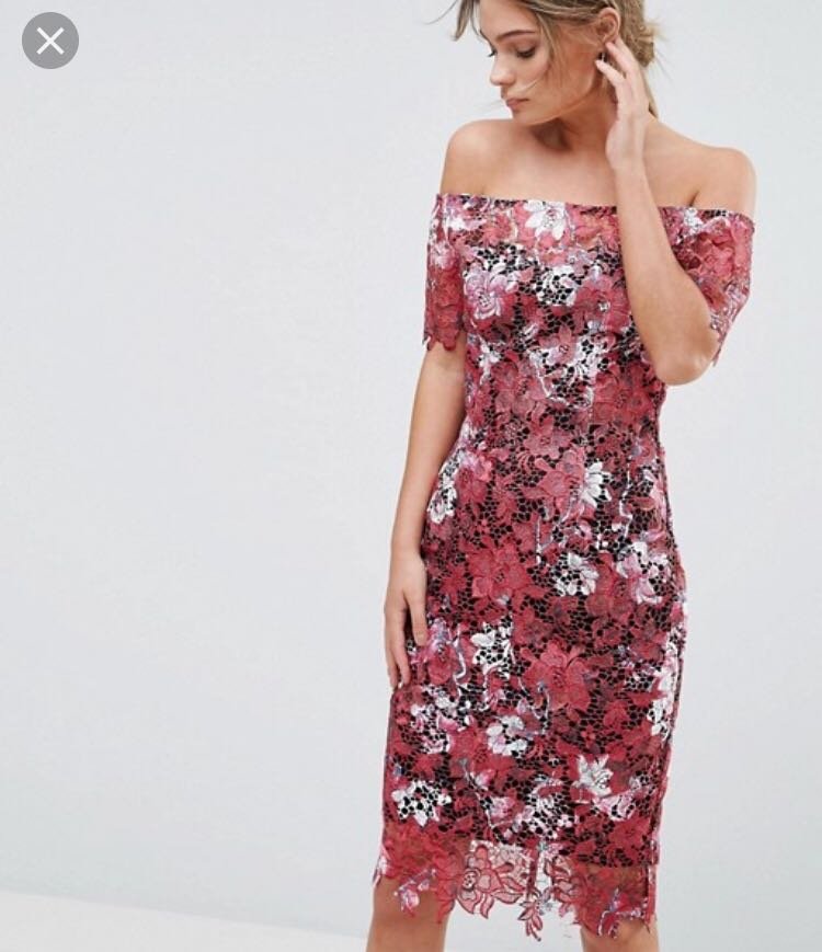 ba4769cb5340 ASOS Paper dolls bardot red floral midi lace dress