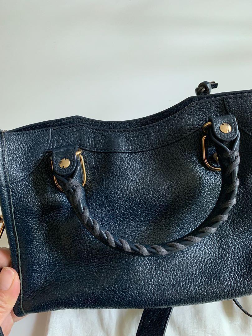3bcefa84cfd6 Balenciaga Mini City Metallic Edge Bleu Obscur Handbag Bag Purse Navy Dark  Blue GHW City S