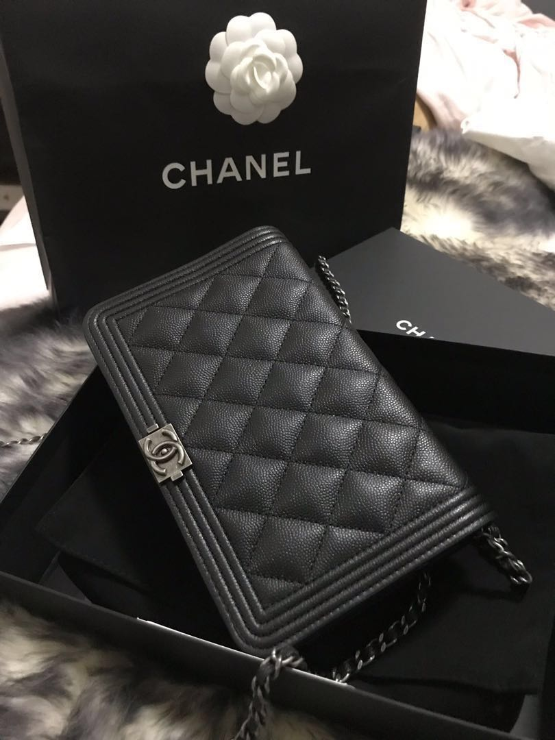 CHANEL BOY WOC Wallet on Chain rare, Luxury, Bags ...