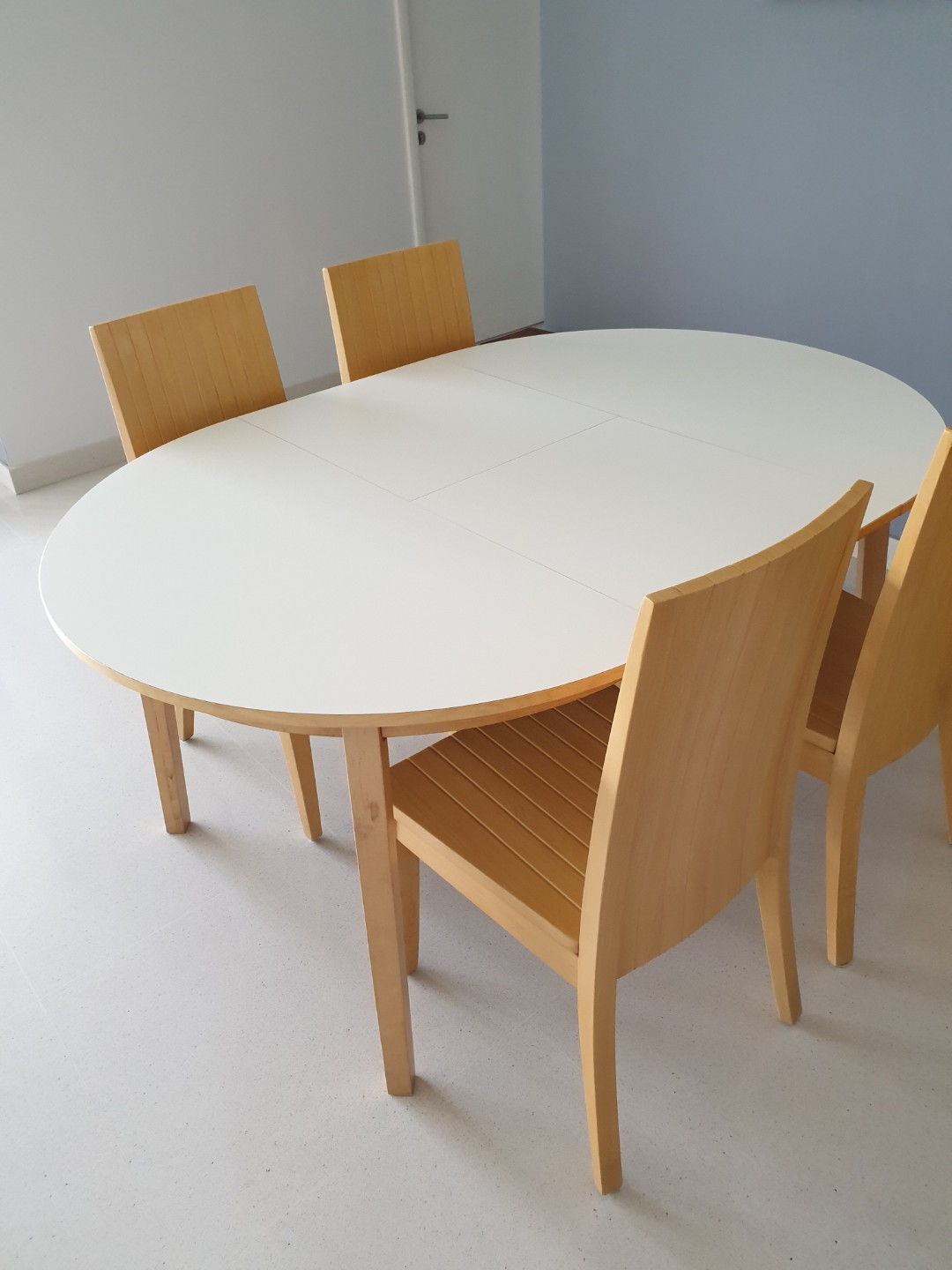 Ikea Extendable Dining Table With Set Of Four Wooden Chairs Furniture Tables Chairs On Carousell