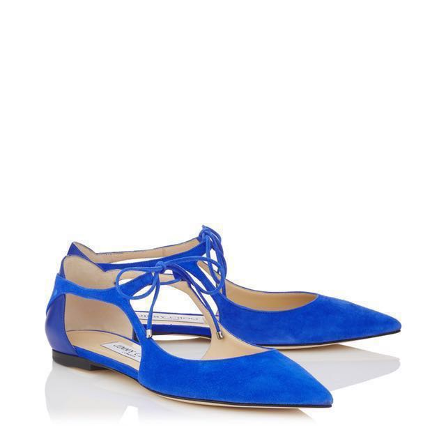 aab6b153fb9 Jimmy Choo Vanessa Blue Suede and Nappa Leather Pointed Flats ...