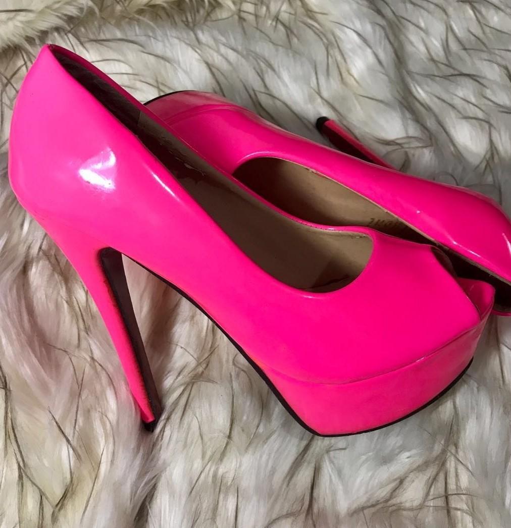 fb84a8fafcbc Neon Pink Peep- Toe High Heels