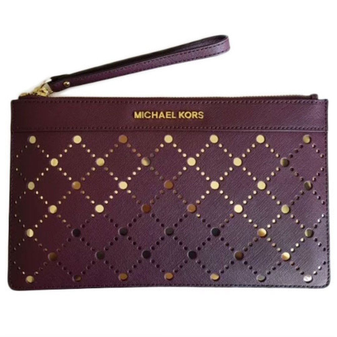 eb31c4671e6a NEW Michael Kors MK Perforated Women s Zip Clutch Pouch Bag (Violet ...