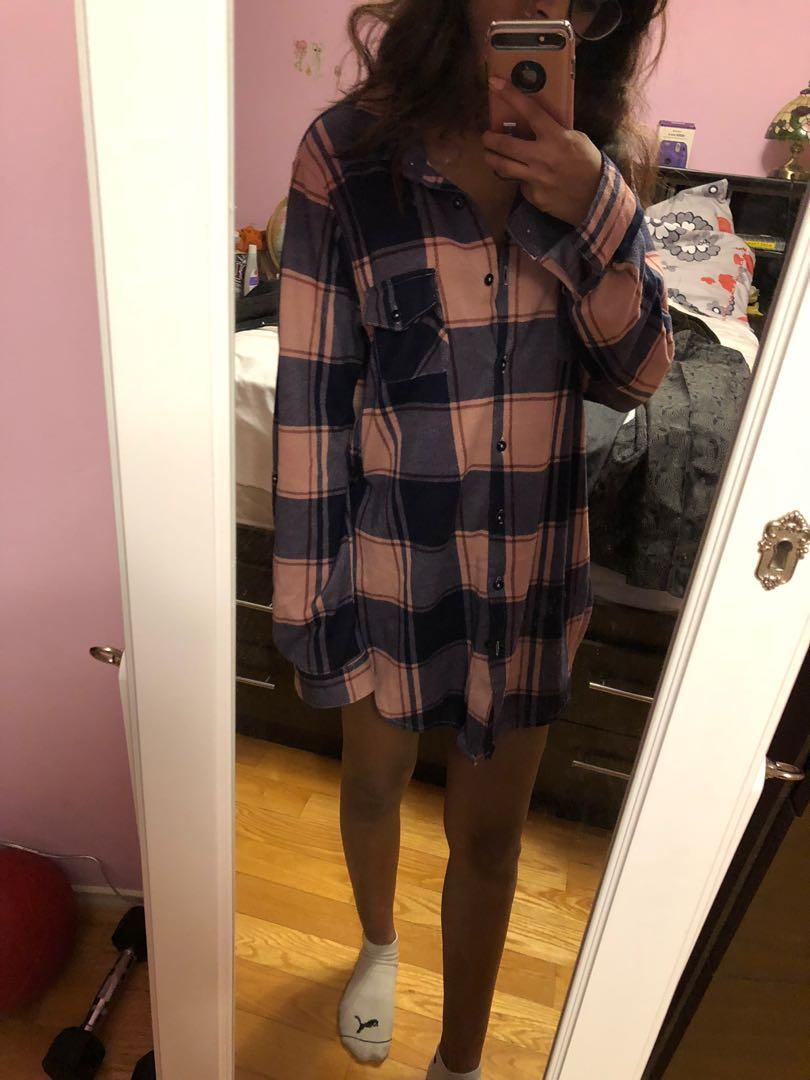 Pink and Purple Plaid Dress/ Long Shirt