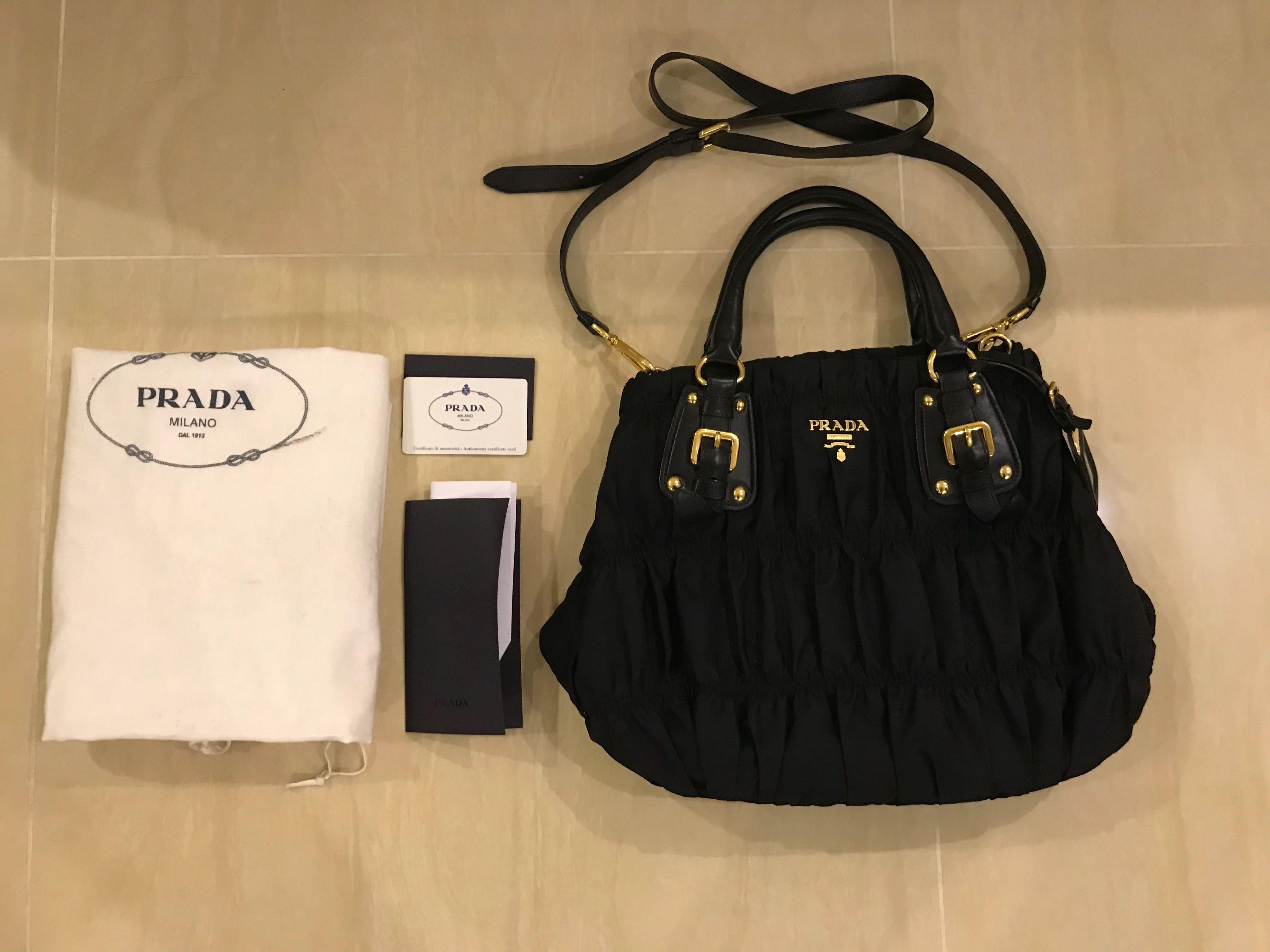 8f37b7d360 Prada Tessuto Gaufre Nero Nylon Tote Handbag BN1792 Black
