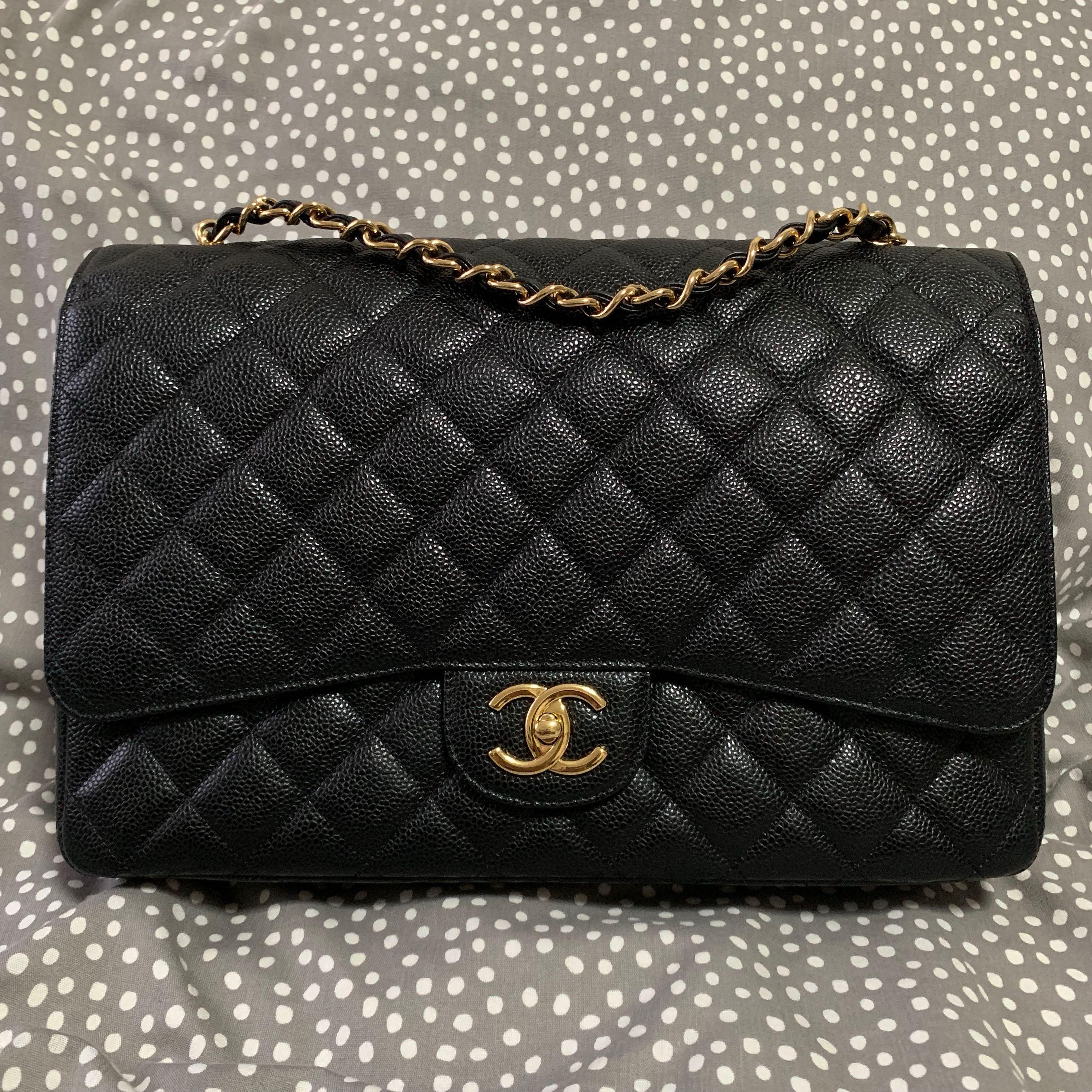 69085123b 🛑REDUCED🛑LN Chanel Maxi Classic Bag in Black Caviar & GHW Double ...