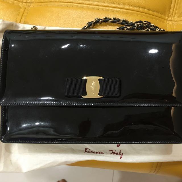 a263dacb23e Salvatore Ferragamo Ginny Patent Leather Shoulder Bag, Black (Nero ...