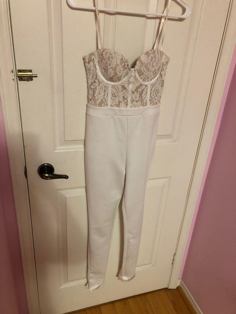 SIRENS All white & lace Jumpsuit