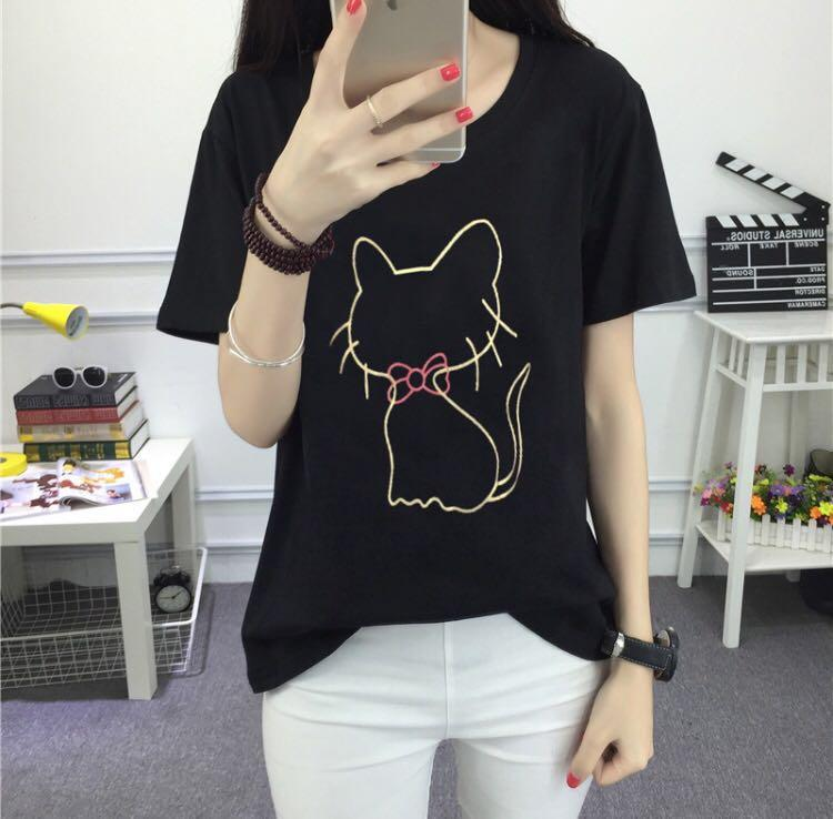 [Size L] Cat Tee in Black