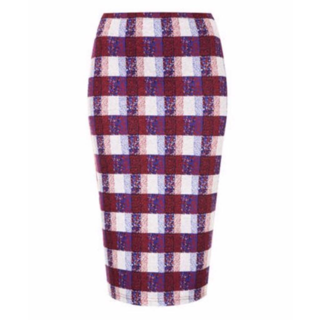 27d378f43637 Topshop Checkered Midi Skirt, Women's Fashion, Clothes, Dresses ...