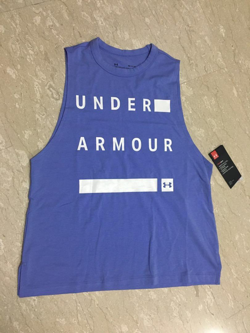 71641110 Underarmour women's linear wordmark muscle tank on Carousell