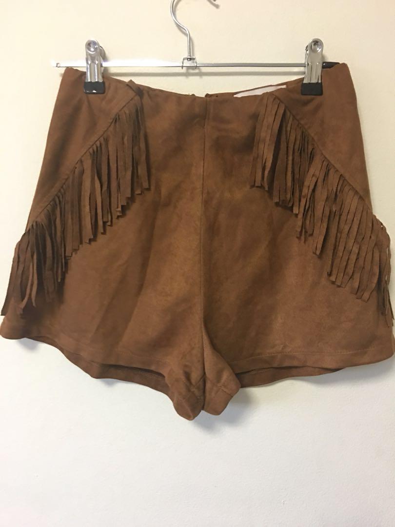 Vintage Festival Suede Fringed Shorts