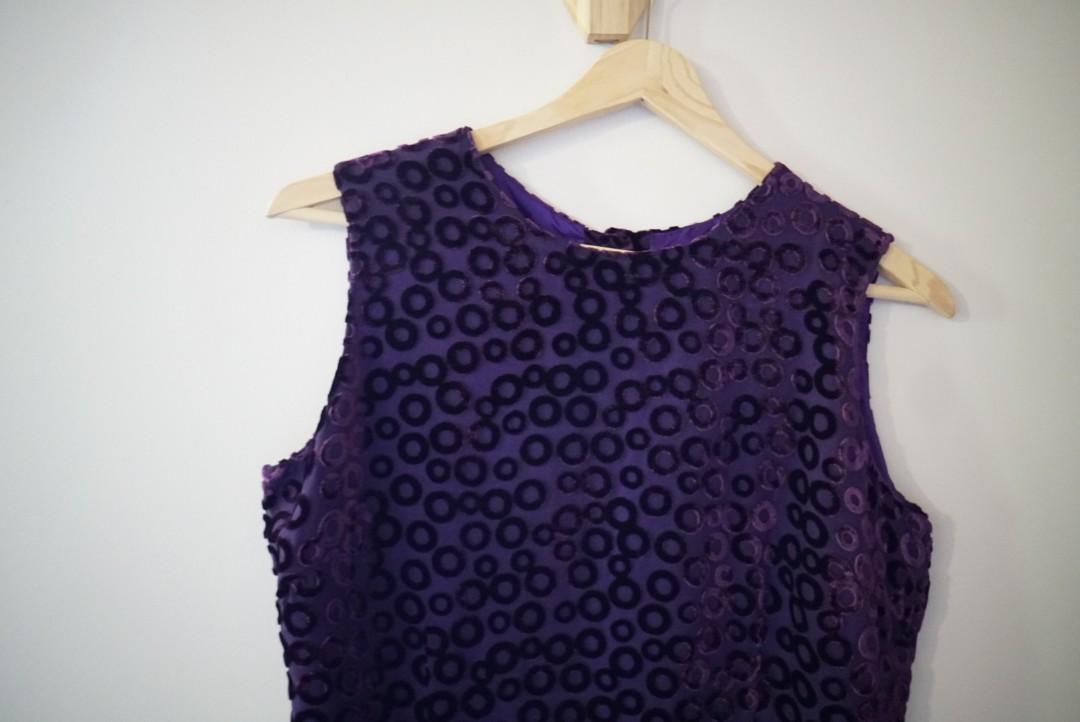 Vintage purple velvet and chiffon singlet