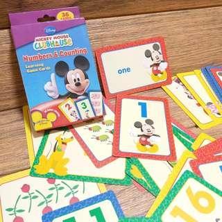 正品 Disney Mickey mouse numbers counting game cards 數與量配對咭