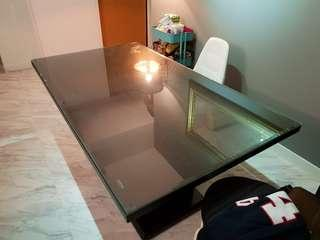 Solid Wood Dining Table with tempered glass top