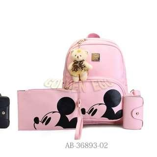 Free Mail - Pink Mickey Bags ( Backpack + Clutch Bag + Card Wallet + Bear Keyring )