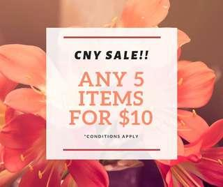 Sale for all items (Any 5 for $10)