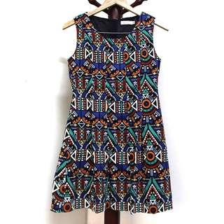 Aztec Designed Sleeveless Dress