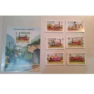 柬埔寨郵票 - 蒸汽機車