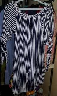 Dark Blue and White Striped Off Shoulder Dress