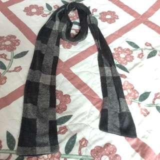 Almost New Black White Grey Checked Wool Scarf