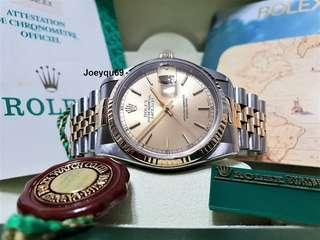 (CERT/ Box/ etc) ROLEX DATEJUST 18K halfgold Men with Roman/Baton marker!