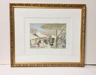 Watercolor on Board of a Paris Market Scene by Jim Duvau; c. 1930s/40s in Period Frame.