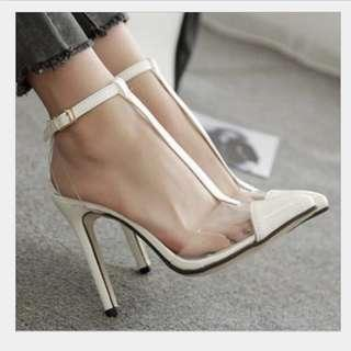 White T-Strap Vinyl Pointed Pumps size 36
