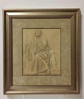 Late 19th century Orientalist Sketch on Paper if an Arab Man; French work.