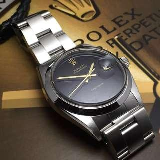 SOLD-          34mm Rolex Oysterdate 6694 in Luxurious Piano Black