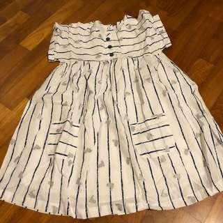4-5T NEW Vertbaudet White bird print dress