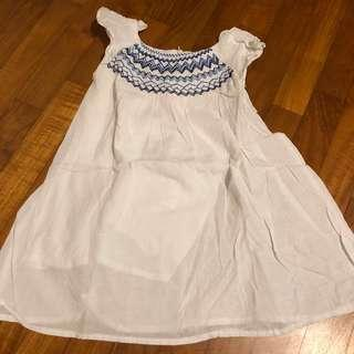 2-3T NEW White Embroidered Dress flutter sleeve
