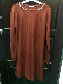 Maroon Long Dress / Knitted Dress / Top / Knitwear