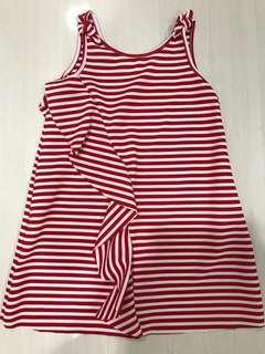 Zara red white dress